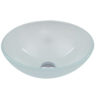 VIGO White Frost Glass Vessel Bathroom Sink