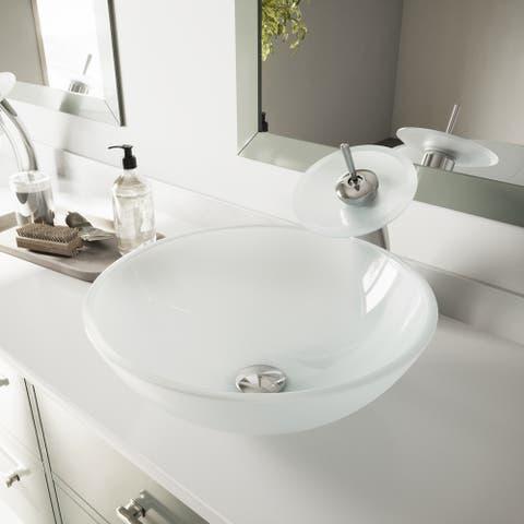 VIGO White Frost Glass Vessel Bathroom Sink
