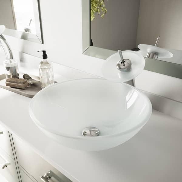 Vigo White Frost Glass Vessel Bathroom Sink Overstock 8225546