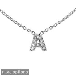 Sterling Silver Cubic Zirconia Mini Initial Letter Necklace