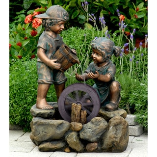 Bronze-painted Children Outdoor/ Indoor Water Fountain
