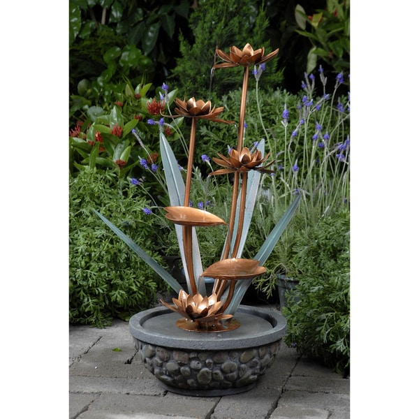 shop brass flowers outdoor water fountain - free shipping today - overstock com