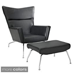 'First Class' Modern Leather Chair and Upholstered Ottoman