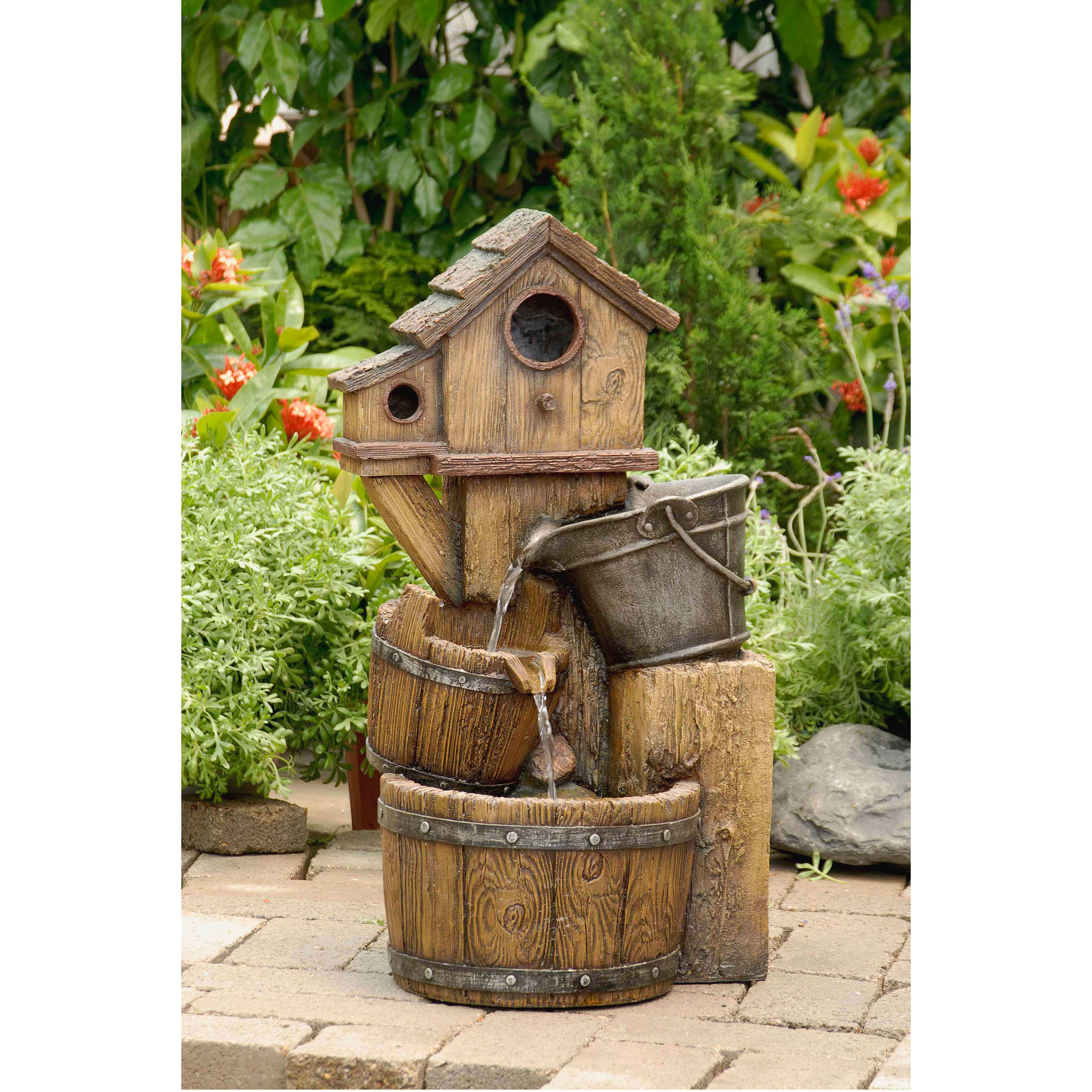 Jeco Rustic Bird House Outdoor Water Fountain, Brown (Res...