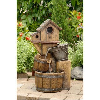 Rustic Bird House Outdoor Water Fountain