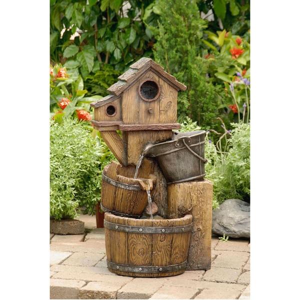 Birdhouse Garden: Shop Rustic Bird House Outdoor Water Fountain