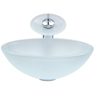 VIGO White Frost Glass Vessel Sink and Waterfall Faucet Set in Chrome