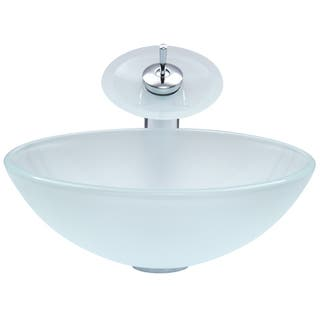 Vigo White Frost Gl Vessel Sink And Waterfall Faucet Set In Chrome