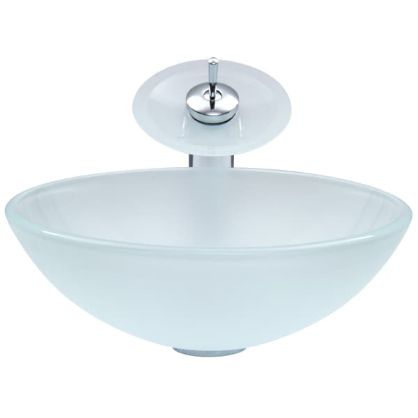 VIGO White Frost Glass Vessel Sink and Waterfall Faucet Set in ...