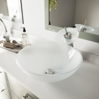 VIGO White Frost Glass Vessel Bathroom Sink and Waterfall Faucet Set