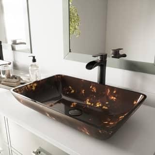 VIGO Brown and Gold Fusion Glass Rectangular Vessel Bathroom Sink