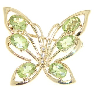 Neda Behnam Soho Boutique 14K Yellow Gold Peridot and Diamond Accent Butterfly Brooch