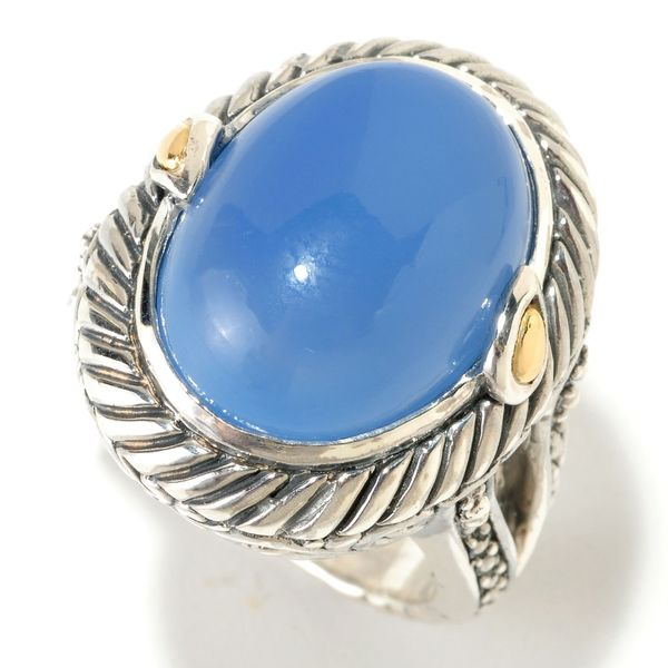 Samuel B. Sterling Silver and 18k Yellow Gold Blue Chalcedony Ring