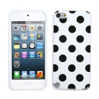 Insten White/ Black Polka Dots TPU Rubber Candy Skin Glossy Case Cover For Apple iPod Touch 5th/ 6th Gen