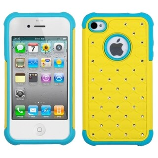 INSTEN Yellow/ Tropical Teal Lattice Phone Case Cover for Apple iPhone 4/ 4S