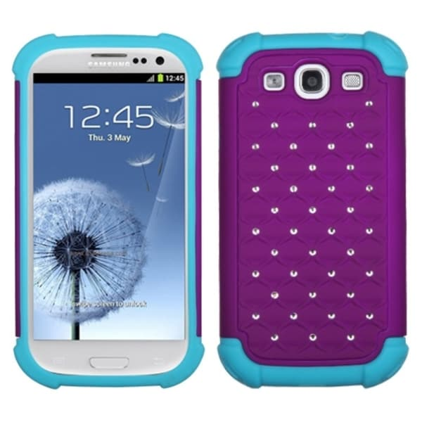 INSTEN Purple/ Tropical Teal Phone Case Cover for Samsung Galaxy S3 i9300