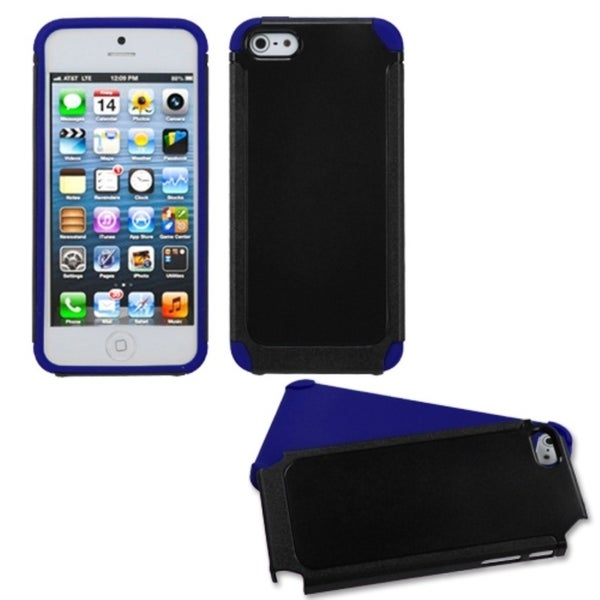 INSTEN Black/ Dark Blue Frosted Fusion Phone Case for Apple iPhone 5/ 5S/ SE
