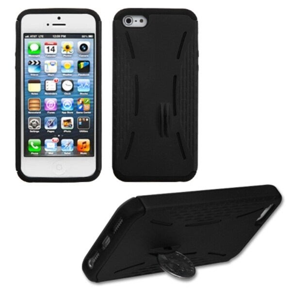 INSTEN Black Quarter Stand Fusion Phone Case Cover for Apple iPhone 5