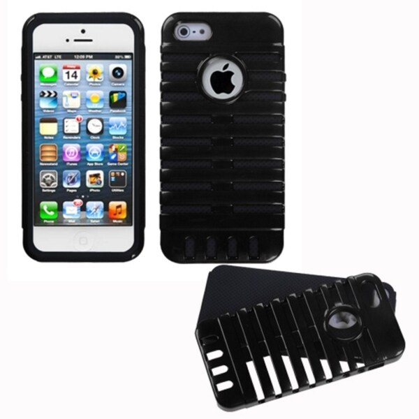 INSTEN Black/ Black Microphone Fusion Phone Case Cover for Apple iPhone 5