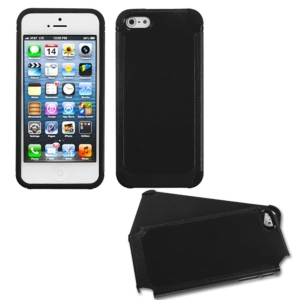 INSTEN Black/ Black Frosted Fusion Phone Case Cover for Apple iPhone 5