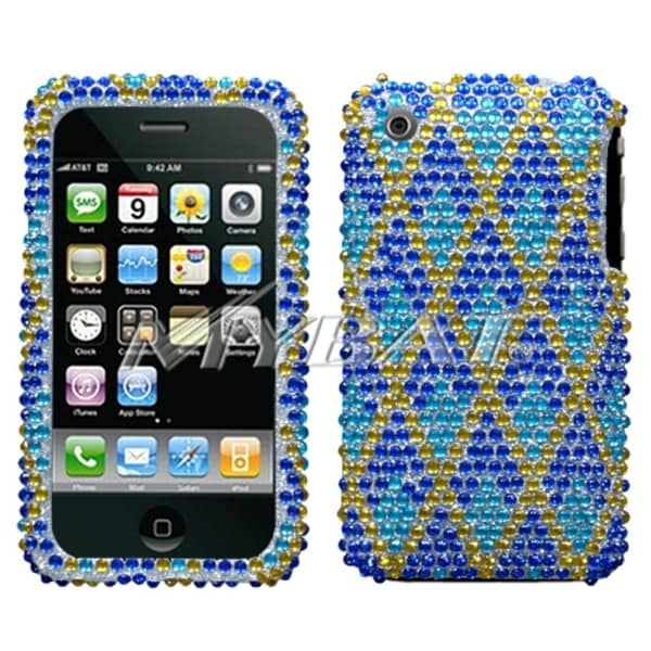 INSTEN Blue Rhombic/ Plaid/ Diamante Phone Case Cover for Apple iPhone 3GS/ 3G