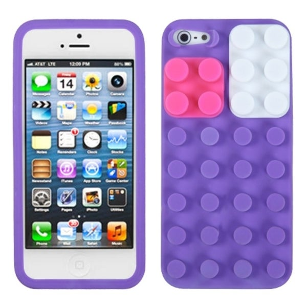 INSTEN Purple/ Blocks Skin Phone Case Cover for Apple iPhone 5