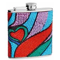 Top Shelf 6-Ounce Rhinestone Heart Pattern Hip Flask