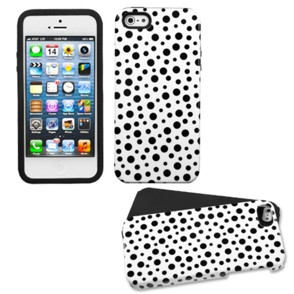 INSTEN Black/ Mixed Polka Dots Fusion Phone Case Cover for Apple iPhone 5