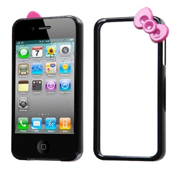 INSTEN Black/ Hot Pink/ Bow MyBumper for Apple iPhone 4S/ 4