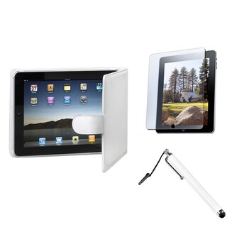 INSTEN Stylus/ LCD Protector/ Leather Tablet Case Cover for Apple iPad 1
