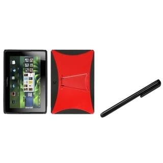 INSTEN Red/ Black Phone Case Cover/ Black Stylus for Blackberry Playbook