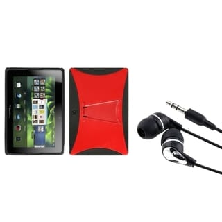 INSTEN Red/ Black Phone Case Cover/ Silver Headset for Blackberry Playbook