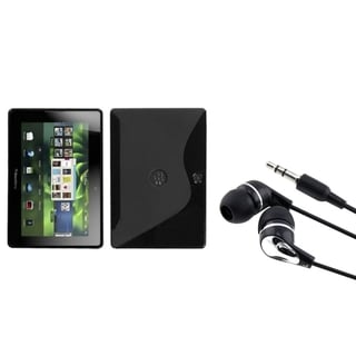 INSTEN Black S-shape Phone Case Cover/ Silver Headset for Blackberry Playbook