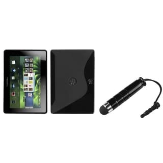 INSTEN Black S-shape Phone Case Cover/ Black Stylus for Blackberry Playbook