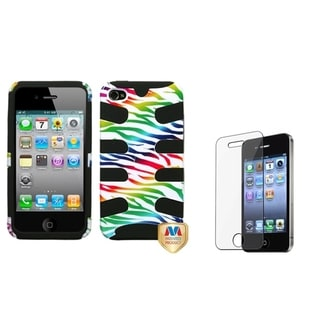 INSTEN Colorful Zebra Phone Case Cover/ Screen Protector for Apple iPhone 4/ 4S