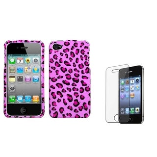 INSTEN Pink Leopard Skin Phone Case Cover/ Screen Protector for Apple iPhone 4/ 4S