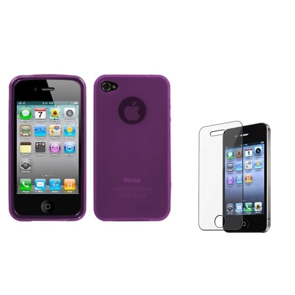 INSTEN Purple Phone Case Cover/ Screen Protector for Apple iPhone 4/ 4S