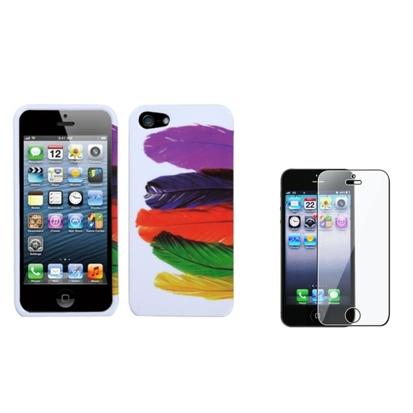 BasAcc Tropical Feather Case/ Screen Protector for Apple iPhone 5