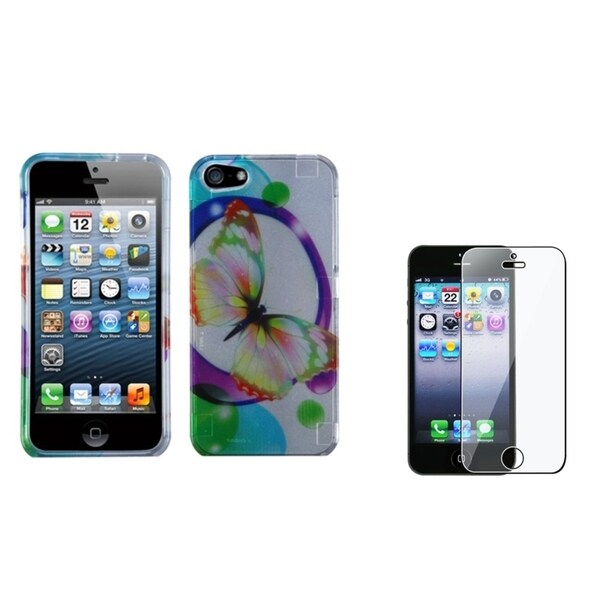INSTEN Colorful Butterfly Phone Case Cover/ Screen Protector for Apple iPhone 5