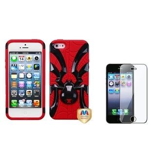 INSTEN Red/ Black Spiderbite Phone Case/ Screen Protector for Apple iPhone 5/ 5C/ 5S/ SE