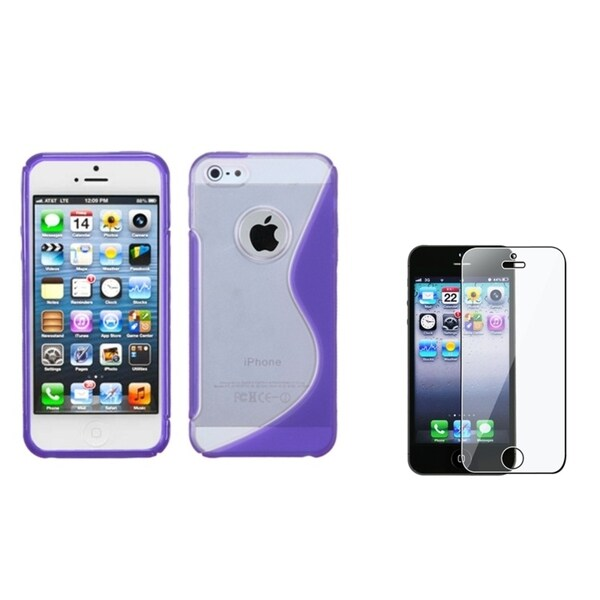 INSTEN Clear-Purple S-shape Phone Case/ Screen Protector for Apple iPhone 5/ 5C/ 5S/ SE