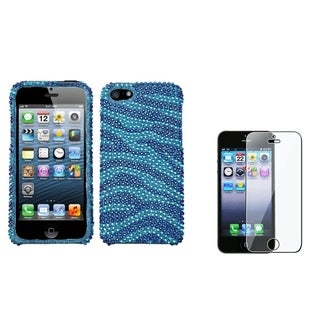 INSTEN Baby Blue Zebra Phone Case/ Screen Protector for Apple iPhone 5/ 5C/ 5S/ SE