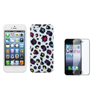 INSTEN Colorful Leopard Phone Case/ Screen Protector for Apple iPhone 5/ 5C/ 5S/ SE