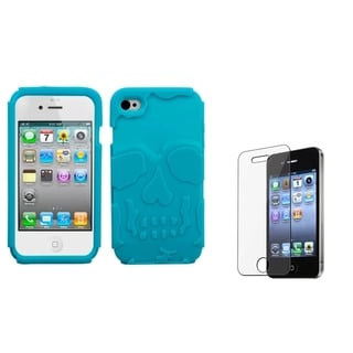 INSTEN Teal Skullcap Hybrid Phone Case Cover/ LCD Protector for Apple iPhone 4/ 4S