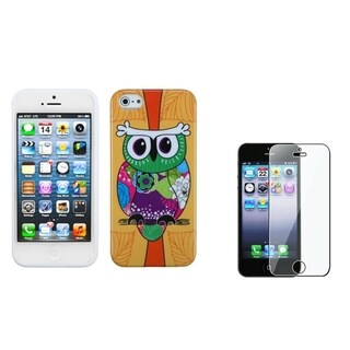 INSTEN Tropical Orange Owl Phone Case/ Screen Protector for Apple iPhone 5/ 5C/ 5S/ SE