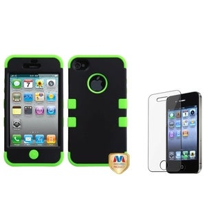 INSTEN Black/ Green TUFF Phone Case Cover/ LCD Protector for Apple iPhone 4/ 4S