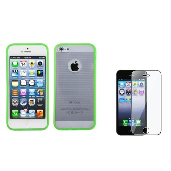 INSTEN Clear/ Green Stripes Phone Case Cover/ Screen Protector for Apple iPhone 5
