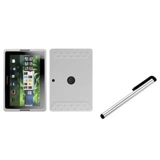 INSTEN Solid White Phone Case Cover/ Silver Stylus for Blackberry Playbook