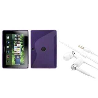 INSTEN Purple S-shape Phone Case Cover/ Silver Headset for Blackberry Playbook