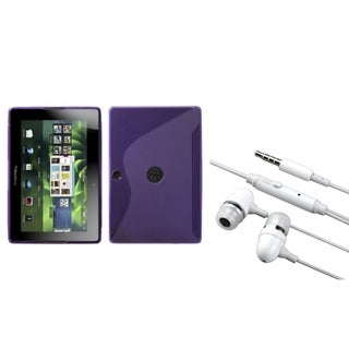 INSTEN Purple S-shape Phone Case Cover/ Hands-free Headset for Blackberry Playbook